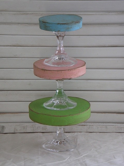 decorated tiered plate stands many more pics on this site