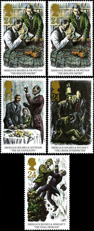 """Sherlock Holmes. Centenary of the Publication off """"The Final Problem"""" stamps, issued 12 October 1993."""