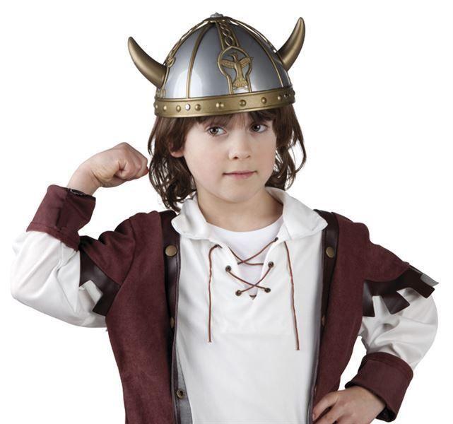 Boys Kids Viking Helmet Saxon Celtic Warrior Medieval Fancy Dress Hat with Horns