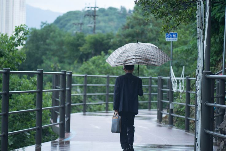 Chuncheon: Pathway to lakeside restaurant in the rain