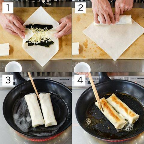 #4コマレシピ 『揚げずにパリパリ♪海苔とチーズの餅春巻きレシピ』 1:春巻きの皮1枚を菱形になるようにまな板におき、中心に海苔を2枚重ねておき、その上にカットした餅を2つ並べ、チーズをのせ、水(分量外)をつけながら皮をまく。 2:もう1枚の春巻きの皮を同じく菱形になるようにまな板におき、水をつけながら[1]を二重に包む。 3:フライパンにバター半量をいれて弱火にかけ、バターがとけたら春巻きのとじた面を下にしていれる。 4:焼き色がついたらひっくり返し、バターの残り半量をいれて焼き色がつくまでゆっくり焼く。 【材料(2本分)】 切り餅…2切れ 春巻きの皮…4枚 海苔…全判1枚 ピザ用チーズ…30g バター…20g 【下準備】 餅は縦に半分にカットしておく。 海苔は縦横に折って1/4サイズにしておく。 ︎ ▶︎くわしいレシピはこちらからご覧ください http://hokuohkurashi.com/note/92812 #北欧暮らしの道具店 #餅 #おもち #もち #正月 #レシピ #おうちごはん