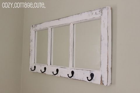 Old window into mirror and towel rack
