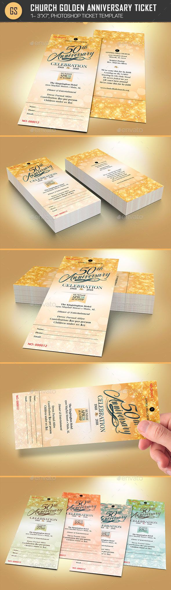 #Church Golden Anniversary Ticket Template - Miscellaneous #Print Templates