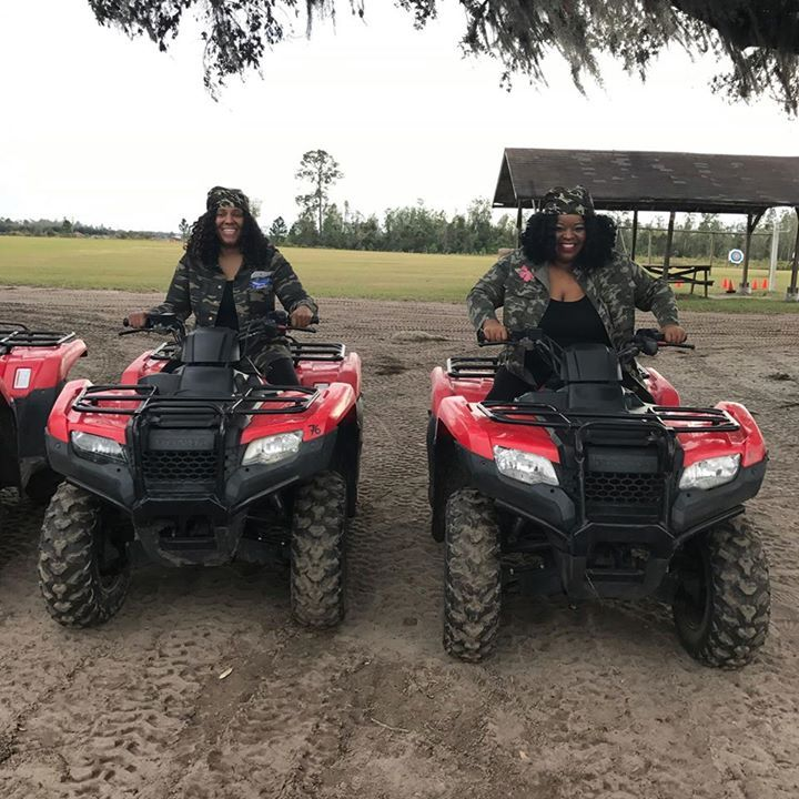 These two are excited to Get Dirty on our trails today #GetDirty #ATVs #TripAdvisor #MuckyDuck #ThingsToDoInOrlando via Orlando Activities For Adults