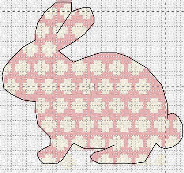 Polka dot bunny x-stitch