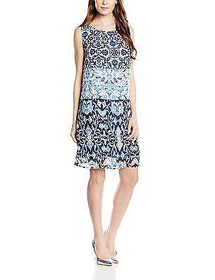 14, Blue - Blau (real navy blue 6593), Tom Tailor Women's Kleid A-linie Print Dr