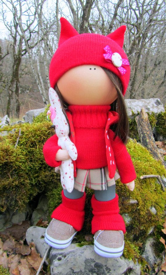 CLOTH DOLL handmade doll fabric doll Anna от NICEDOLLSANDRABBITS