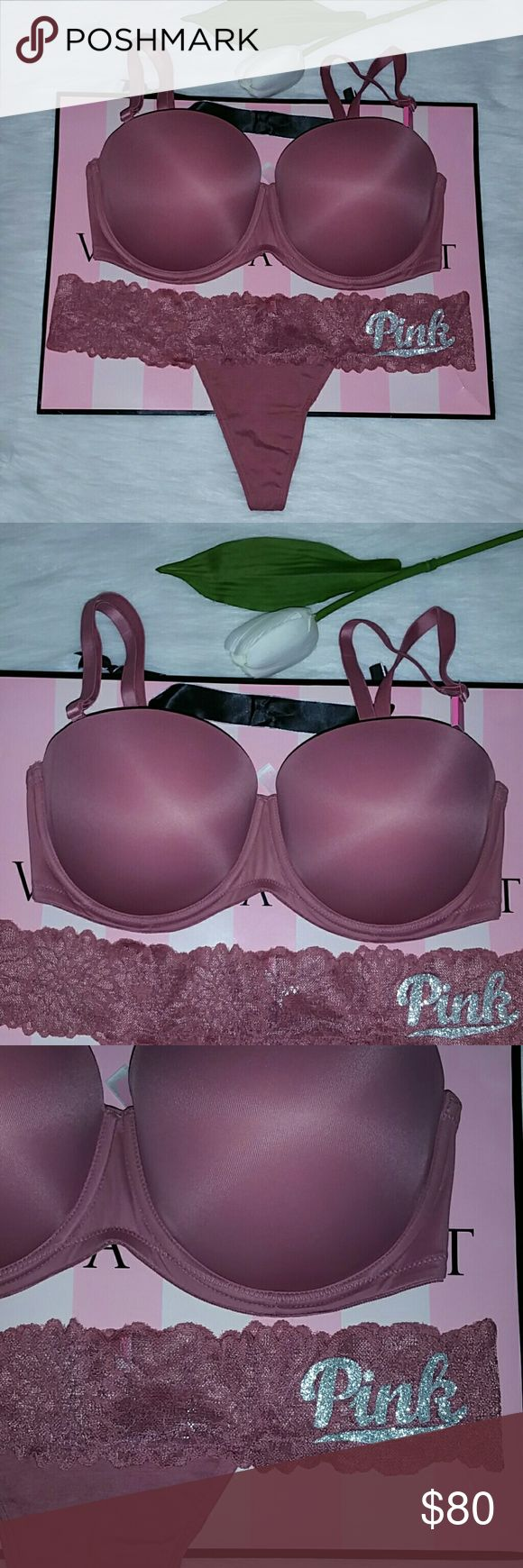 Nwt Pink Vs Multi Way Push-up Bra 34DD+Thong L Brand new with tag pink victoria's secret Multi way push up bra 34DD + Panty Thong size L. Smoke and pet free home.  Fast shipping + extra gift.  I  don't trade love.  Available  Lowest 45  Available  Feel free to buy . PINK Victoria's Secret Intimates & Sleepwear Bras