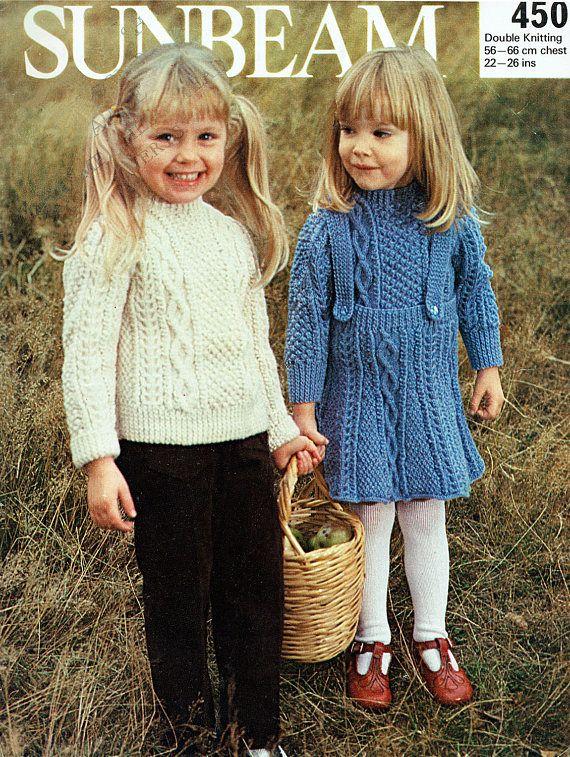 PDF Vintage Girl Toddler Pinafore Dress Knitting Pattern ARAN
