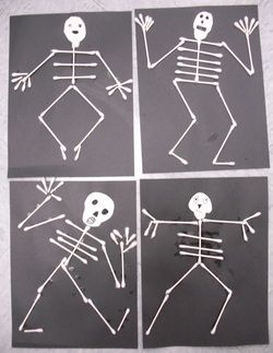 3.) Art:   With a black piece of construction paper folded into quadrants, children can glue q tips down to make a dancing skeleton with different facial expressions
