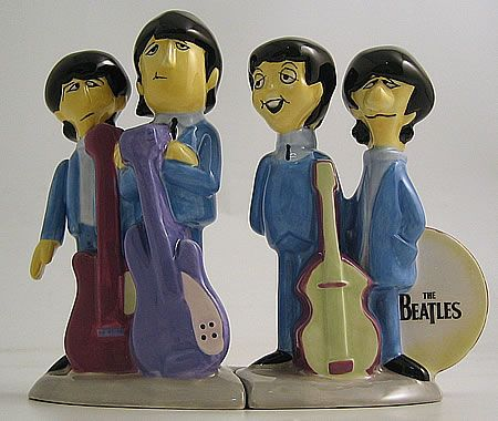 THE BEATLES Animated Salt And Pepper Shakers (1999 UK hand made limited edition china salt & pepper shakers by Vandor)