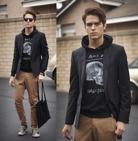 hoodie + blazer: Casual Outfit, Street Style, Men Style, Men Fashion, Blazers, Guys Outfit, Men Wear, Adam Gallagher, Dark Magic