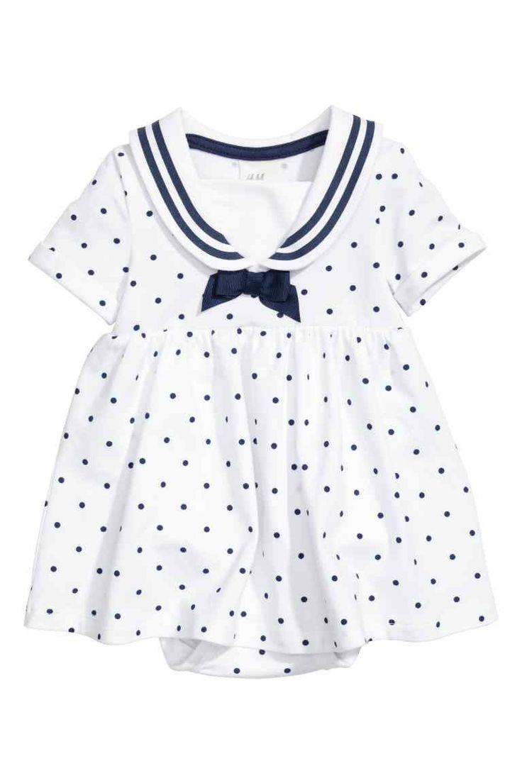Dżersejowa sukienka marynarska - Biały/Kropki - Dziecko   H&M PL