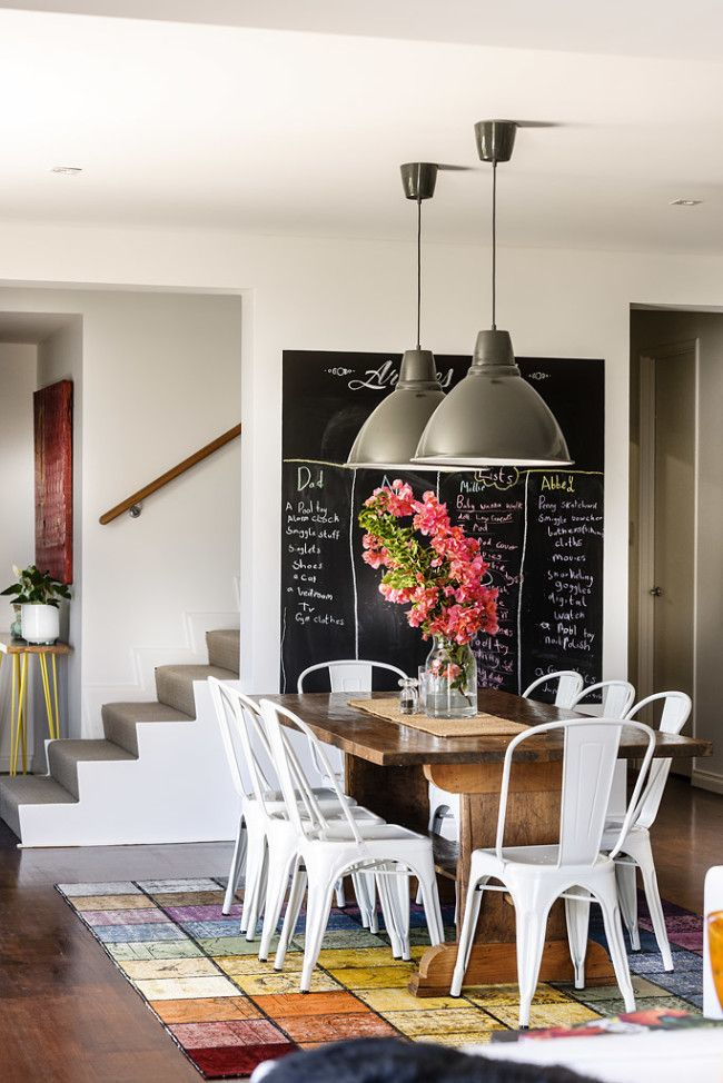 rustic modern #farmhouse dining room #chalkboard + barn pendants