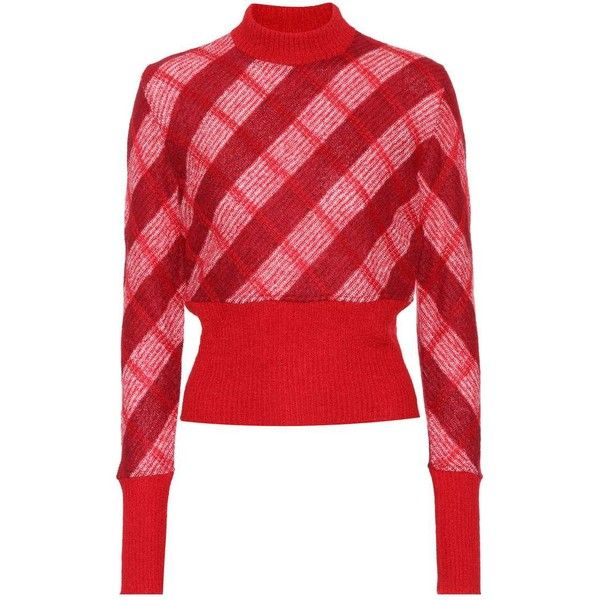 Miu Miu Checked Mohair-Blend Sweater (€860) ❤ liked on Polyvore featuring tops, sweaters, red, miu miu sweater, miu miu, red sweater, miu miu top and red top