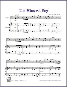 The Minstrel Boy | Celtic Free sheet for Cello - http://makingmusicfun.net/htm/f_printit_free_printable_sheet_music/minstrel-boy-cello.htm