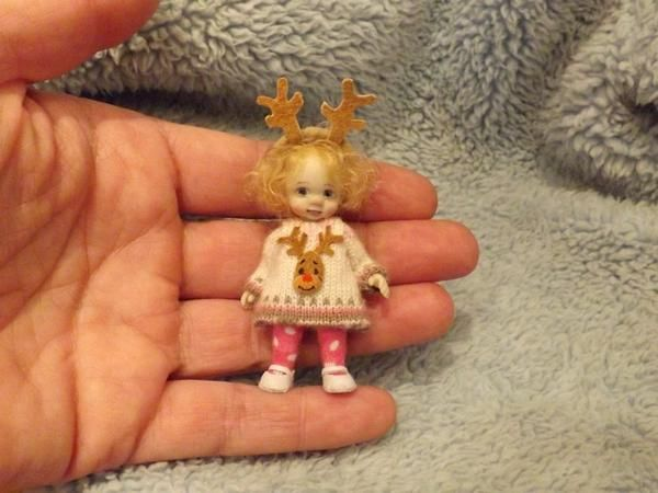 Miniature handmade MINI CHRISTMAS BABY GIRL REINDEER ooak DOLLHOUSE ART DOLL