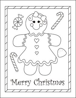 Christmas coloring cards for kids - printable free coloring cards - gingerbread girl - Christmas coloring pages