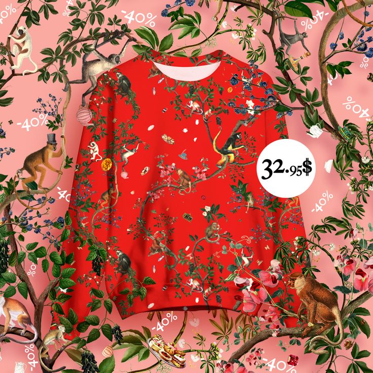 🌷🙉 Last days with 40% off on everything!! Grab this sweater for 32.95$ instead of 54.95$! 🌹🐒 Click! #print #promo #fifikoussout #apparel #sweater #jungle #pattern #floral #botanical #liveheroes