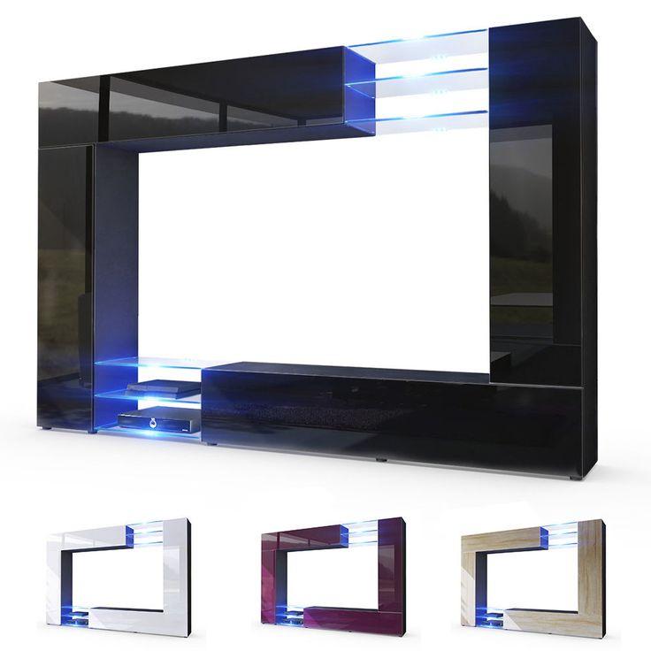 wall unit living room furniture set mirage black high gloss u0026 natural tones