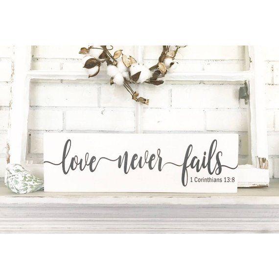 Love Never Fails 1 Corinthians 13 Wedding Gift Wooden Rustic Wooden Sign Wooden Signs Wooden Signs Diy