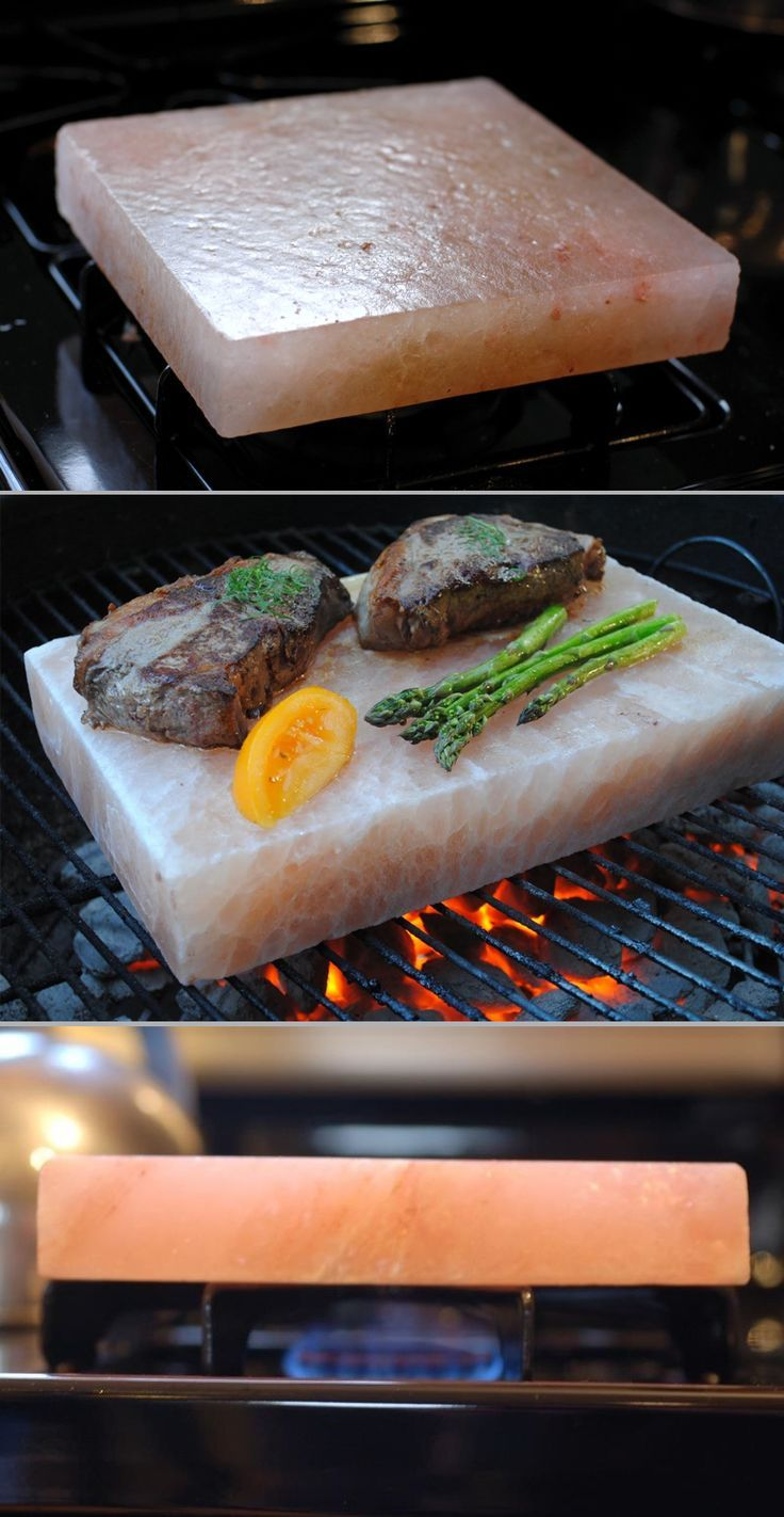 Cook with a Himalayan salt block for perfectly salted food every time. Good for grills, stoves, and ovens! #DIY