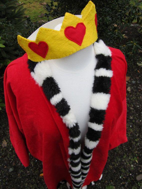 Upcycled Clothing - King of Hearts Costume - Alice in Wonderland - Red Velvet Robe, Yellow Felt Crown & Red Felt Sceptre. $125.00, via Etsy.