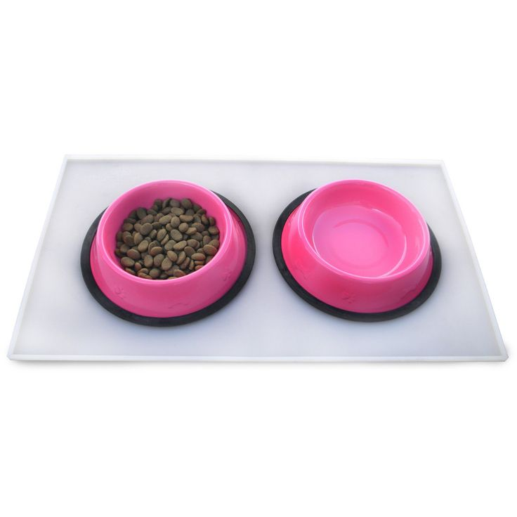 Platinum Pets 3 Cup Embossed Non-Tip Stainless Steel Dog Bowls with Clear Feeding Mat Bubblegum Pink