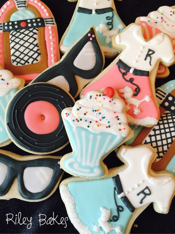 "Custom Decorated ""Sock Hop"" Cookies                                                                                                                                                                                 More"