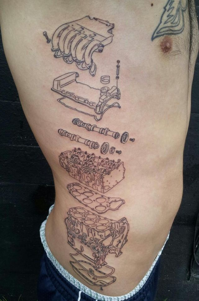 Another tattoo straight out of a mechanics manual, there's something about this one we kind of like. Perhaps it's the detail, perhaps it's just the fact that this guys got a real commitment to his car. #engine #mechanic #tattoo #cartattoo