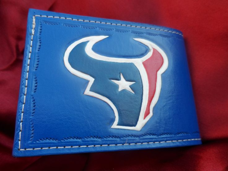 Custom Hand Tooled Sports Team Bi Fold Leather Wallet with Initials - Great Gift Idea!