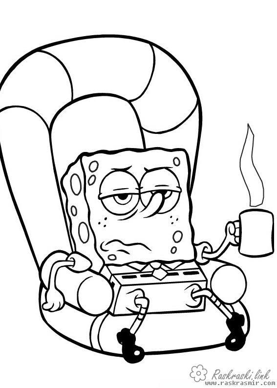 Спанч Боб, кресло, кофе | Губка боб, Раскраски, Милые рисунки