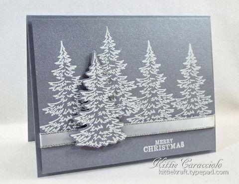 Brushed Silver Snowy Trees using Hero Arts Color Layering Snowy Trees | KittieKraft | Bloglovin'