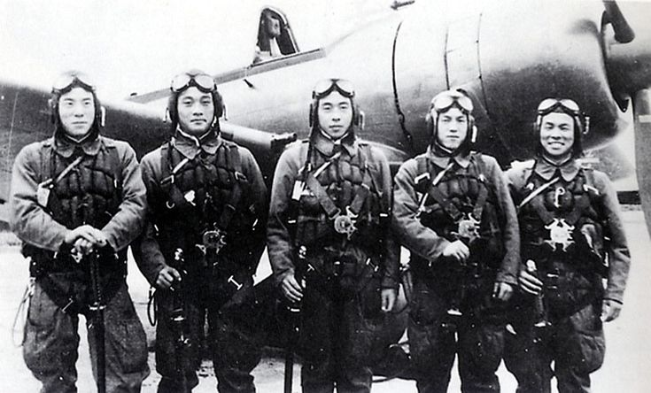 This photo provided by former Kamikaze pilot Toshio Yoshitake, shows Yoshitake, right, and his fellow pilots, from left, Tetsuya Ueno, Koshiro Hayashi, Naoki Okagami and Takao Oi, as they pose together in front of a Zero fighter plane before taking off from the Imperial Army airstrip in Choshi, just east of Tokyo, on November 8, 1944. None of the 17 other pilots and flight instructors who flew with Yoshitake on that day survived. Yoshitake only survived because an American warplane shot him…