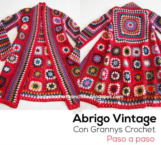 como tejer abrigo tapado crochet con grannys... Beautiful granny square jacket sweater... Free crochet diagrams and layout for squares!!