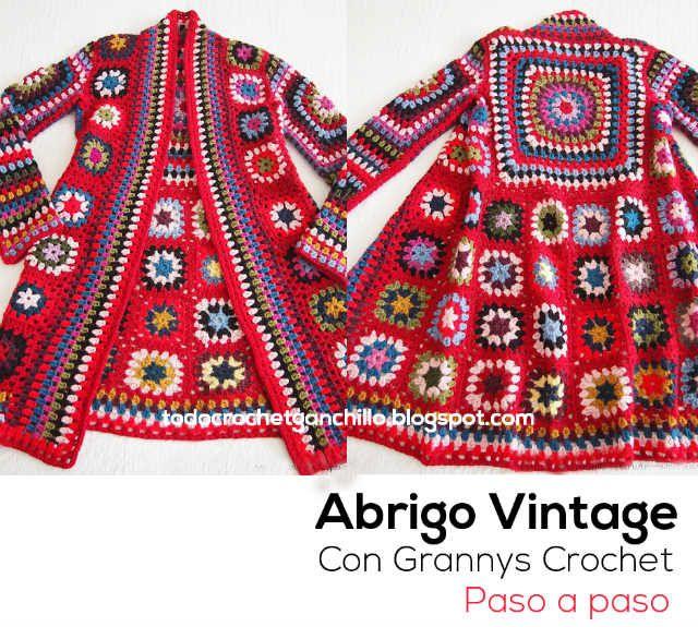 Todo crochet: Aprende a tejer tu abrigo vintage / Paso a paso                                                                                                                                                      Más