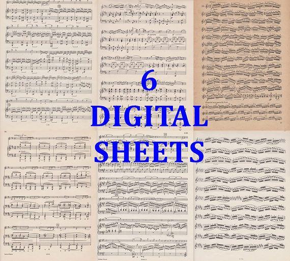 music notes sheet paper vintage digital backdrop background
