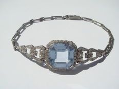 Bracciale d'epoca Art Déco, autentico argento 935 con vera acquamarina/spinello da circa 6 ct, 1920 circa.
