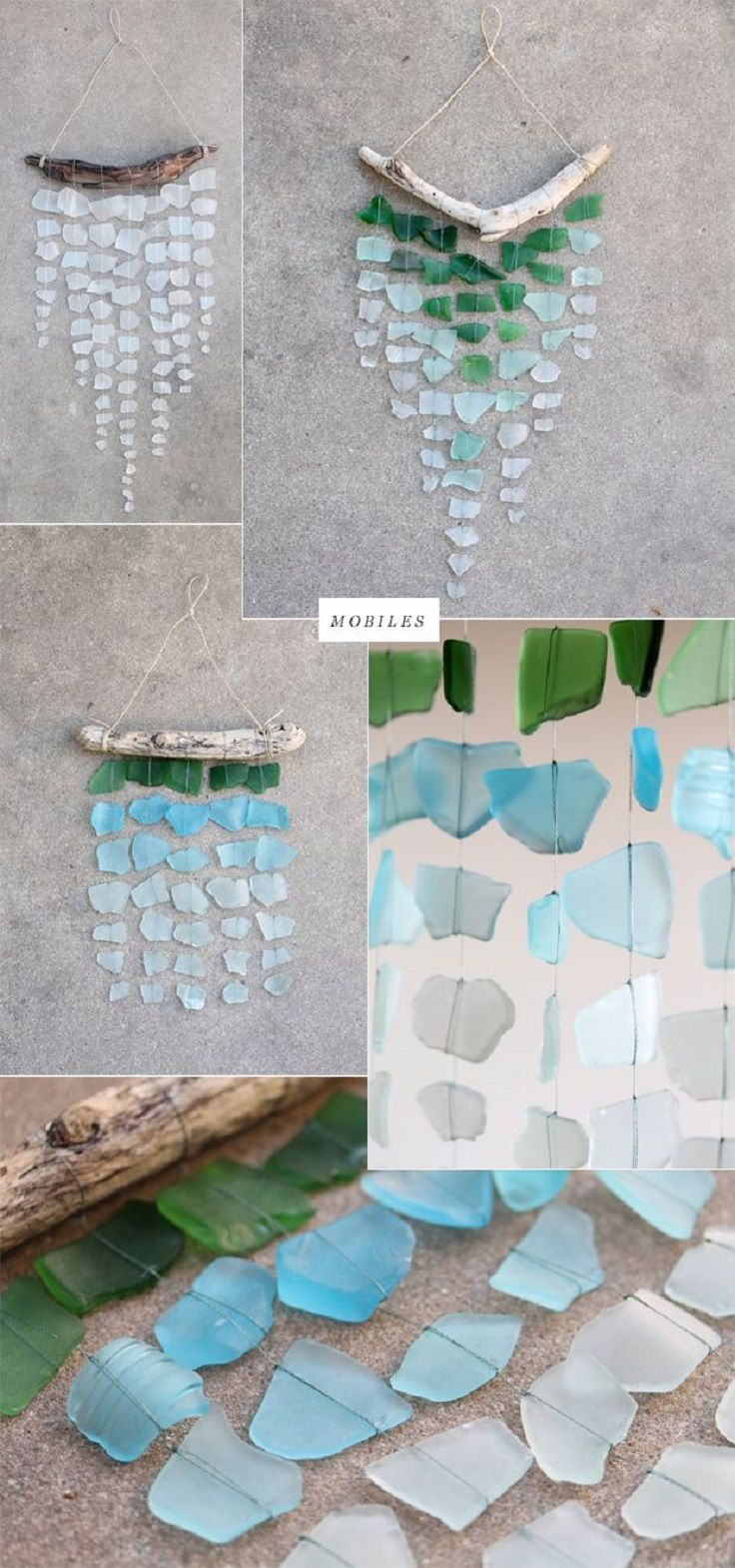 Bring your seaside vacation home with this simple sea glass mobile. Such lovely colors and a great DIY upcycling project! #DIY