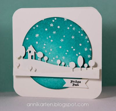 card with snow scene...Memory Box horizon die cuts...luv the coloring of the sky circle...