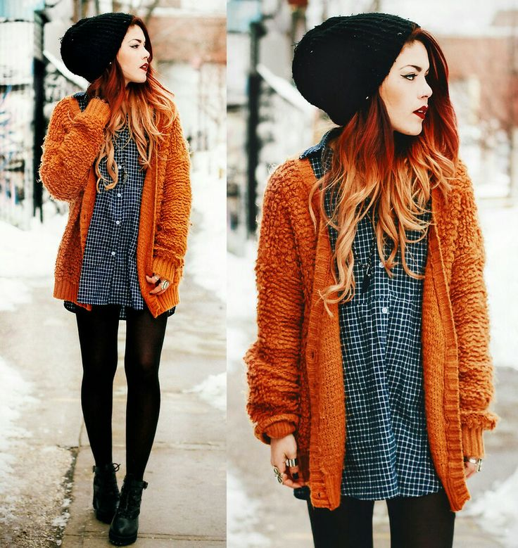 Amazing outfit!! Who knew you could somehow make an orange cardigan look grungy and stylish