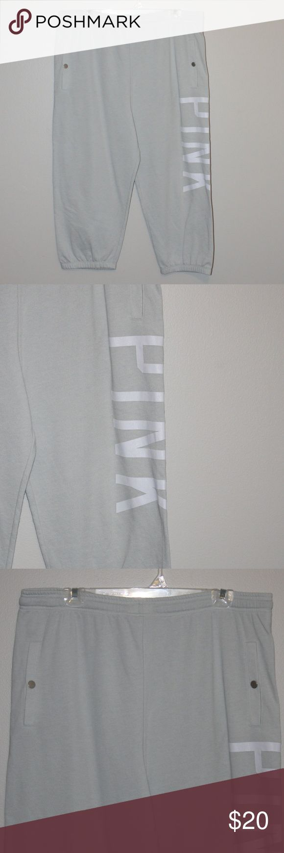 Victoria's Secret PINK Grey Lounge Capris NWOT NWOT --> steeper discounts!  Perfect condition lounge pants ready to be used while you are netflix and chillin. PINK Victoria's Secret Pants Capris