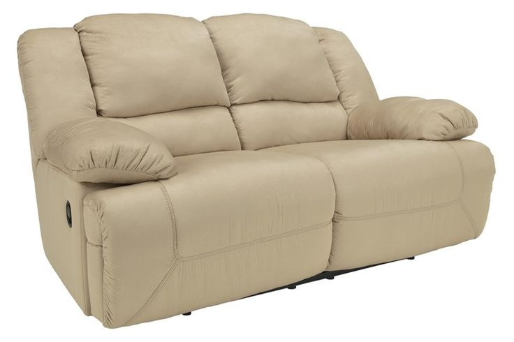 Ashley hogan double reclining loveseat khaki clearance for Home comfort furniture clearance outlet raleigh nc