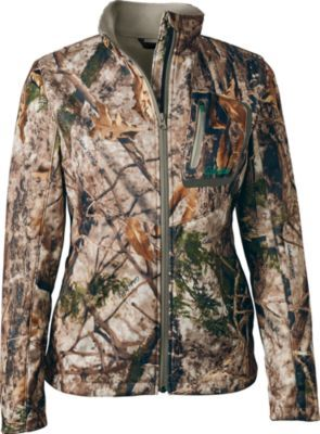 Get out in the field with our functional, all-season Women's Rush Creek Softshell Jacket. Shell is constructed of panels of polyester/Spandex blends for durable mobility.  Sizes:  XS-2XL.  Camo pattern:  Cabela's Zonz™ Woodlands.