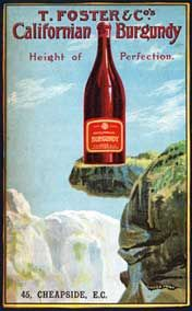 Californian Burgundy, 1906 poster from the London wine merchants showing a bottle on Glacier Point, Yosemite