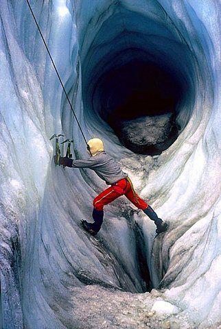 Ice climbing, Chamonix, Haute-Savoie, Alps, France