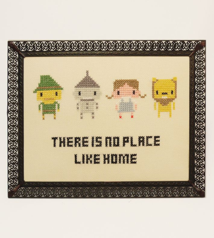 'There is no place like home' - Geeky fan art gone retro ♥ This tiny pixelated hero in a frame is handmade by me.  You can buy this piece at our webshop www.artrebelscom #artrebels #art #craft