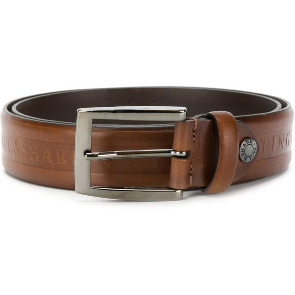 Paul & Shark logo embossed belt (€150) ❤ liked on Polyvore featuring men's fashion, men's accessories, men's belts, brown and mens brown belt