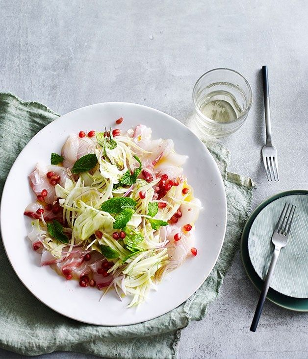 Australian Gourmet Traveller fast recipe for pink snapper crudo with fennel, pomegranate and mint.