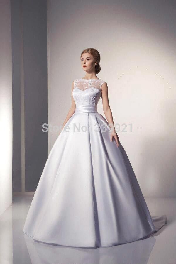 2016 New  Elegant  Bridal Gowns Scoop Ivory White Satin Princess Wedding Dresses 2016 A Line vestido de noiva 2016-in Wedding Dresses from Weddings & Events on Aliexpress.com | Alibaba Group